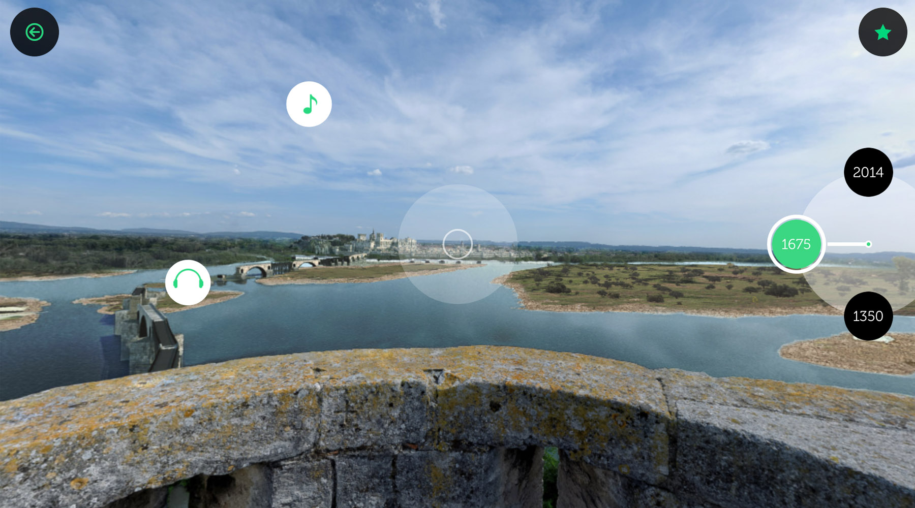 L'interface de l'application Avignon 3D : le pont en (...)