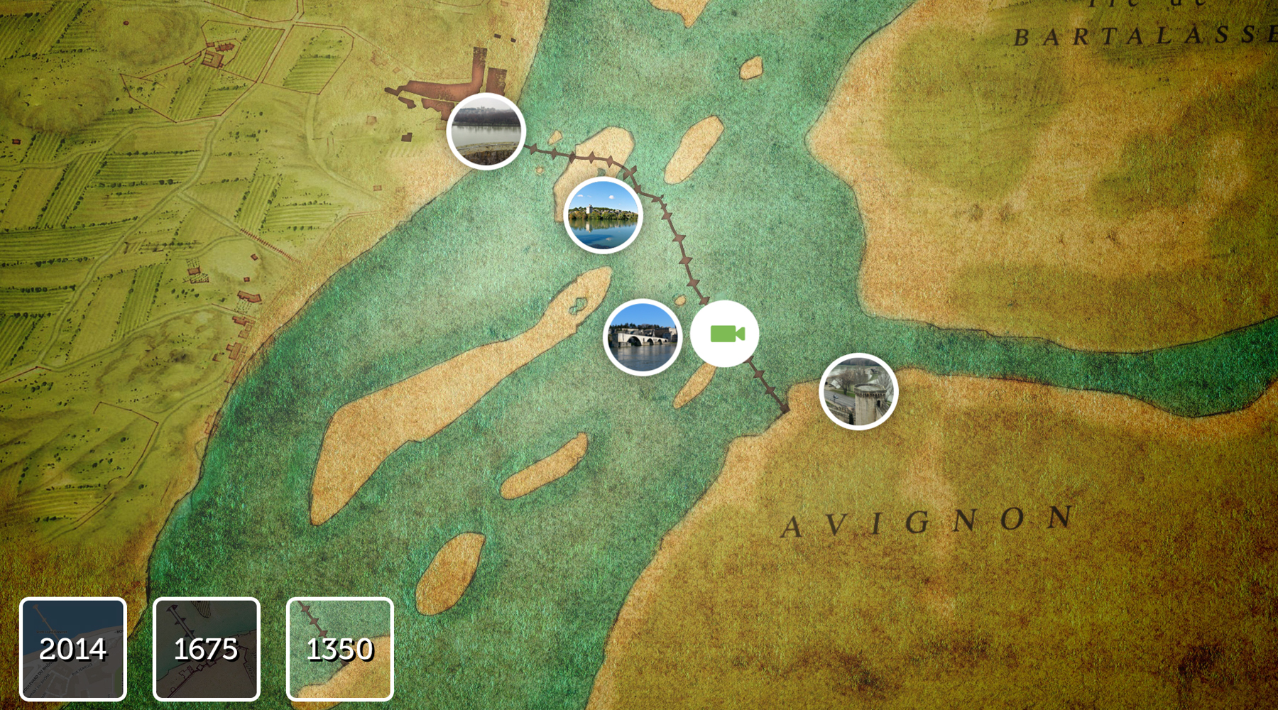 L'interface de l'application Avignon 3D : carte de la ville en (...)