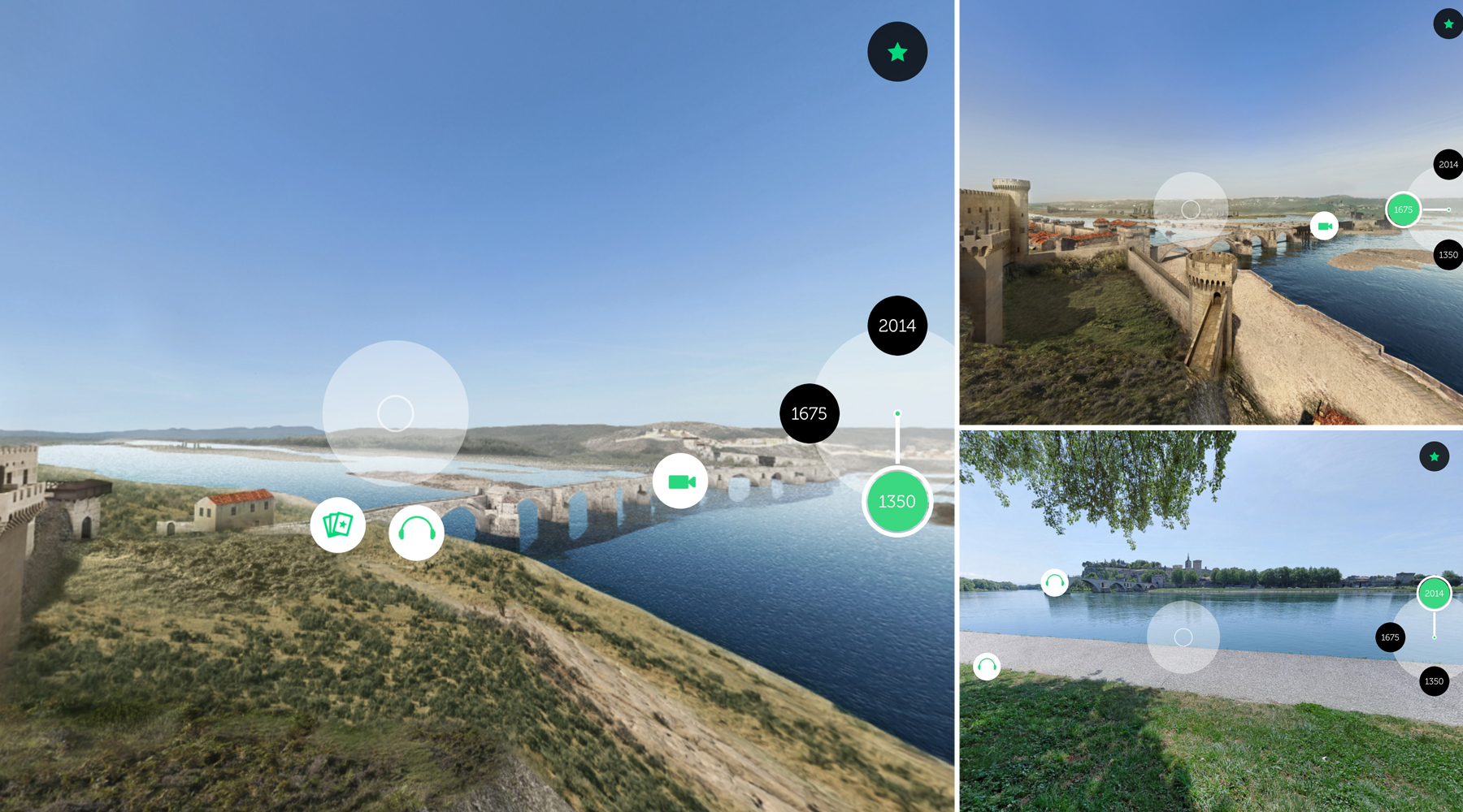 L'interface de l'application Avignon 3D : le pont en 1350, 1675 et (...)