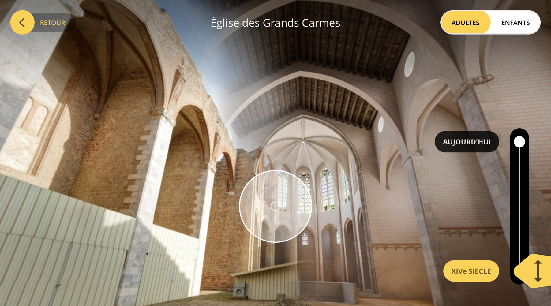 L'interface de l'application Perpignan 3D : l'église des Grands (...)